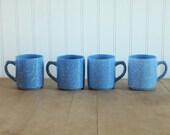 Libbey Blue Speckled Milk Glass Mugs 4