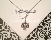 Law necklace with scale of justice charm and heart, silver, lariat necklace, handmade jewelry, lawyer, mom, christmas, birthday gift