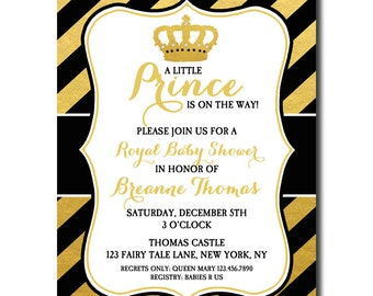 Prince Invitation Printable or Printed With FREE SHIPPING - Black and Gold Prince Collection