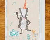 dancing badger birthday card, greetings card for any occasion, woodland party