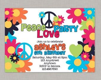 Peace, Love, Party Birthday Invitation, Peace Birthday Invitation, Printable
