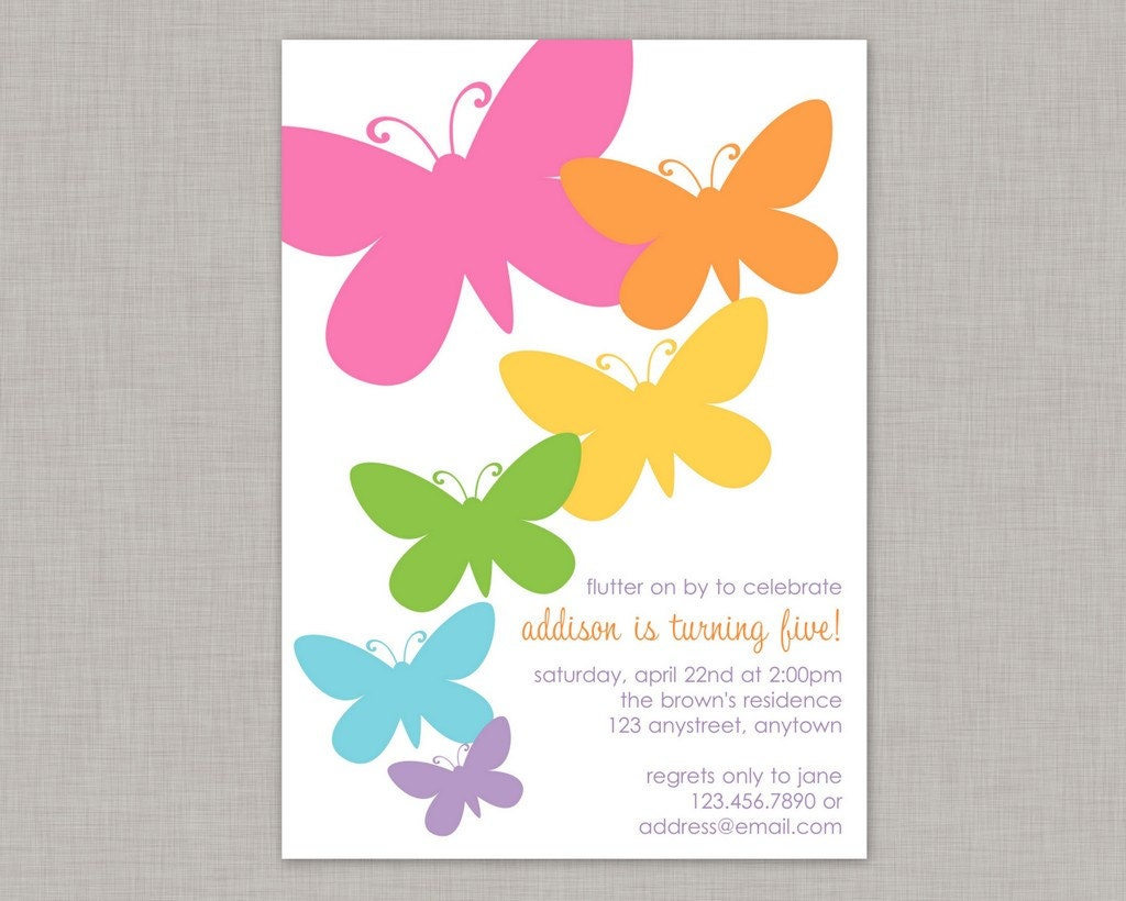 Butterfly Invitation Butterfly Birthday Invitation Butterfly – Butterfly Birthday Party Invitations