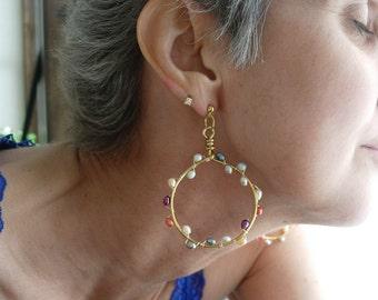 Handmade Hoop goldtone or silver tone pearl accent earrings