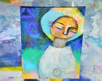 Release -- Original 5x7 Mixed Media Nixie Painting