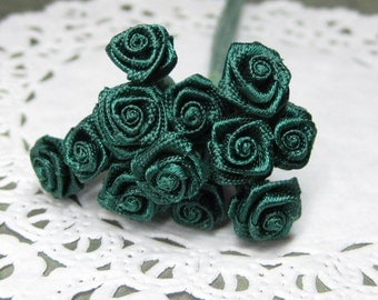 dark green miniature satin roses 12pcs on wire stems tiny rose 8mm 1 dozen roses for scrapbooking and crafting hunter pine tree