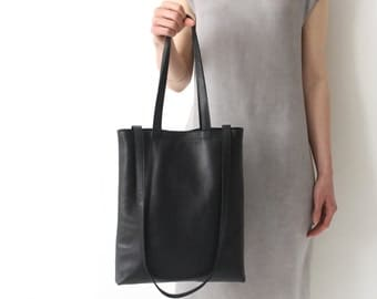 Multi-functional Tote Genuine Leather Black, crossbody bag, shoulder bag, pure leather tote no lining