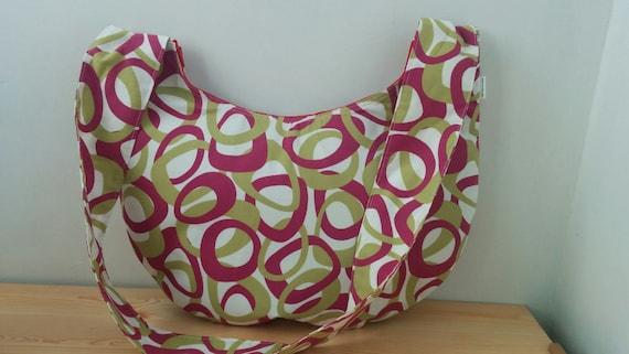 Maxi tote bag, tote bag, fabric bag, crossbody bag, cross body bag, cirlcles bag, pink bag, large bag, large purse, fabric purse,fabric tote