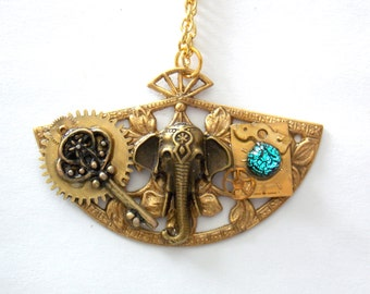 "Victorian Steampunk Necklace ""Golden Elephant"""