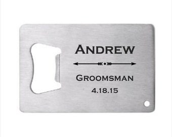 25 of Personalized Stainless Steel Credit Card Bottle Opener, engraved bottle opener wedding favor, groomsman gift, personalized party favor
