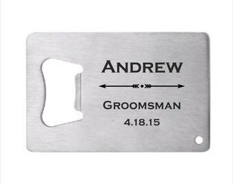 105 of Personalized Stainless Steel Credit Card Bottle Opener, engraved bottle opener wedding favor,groomsman gift, personalized party favor