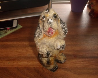 vintage chalk spaniel puppy dog figurine figure