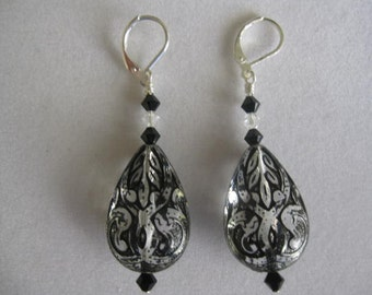 Black and Clear Earrings-Lucite Teardrops with Black and Clear Swarovski Crystals-Black Wedding-Black and White
