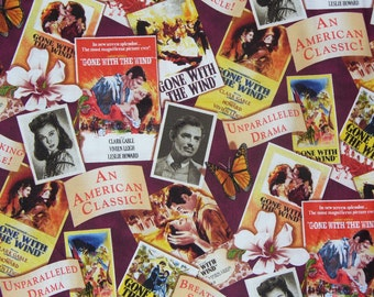 Gone with the Wind Fabric,  Movie Posters Fabric, Gone with the Wind, Scarlett and Rhett, Realistic Pictures, Cotton Fabric, Half Yard