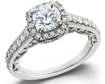 Diamond Engagement Ring, Vintage Diamond Engagement Ring, Cushion Halo Diamond Engagement Ring .85CT Cushion Filigree Unique 14K White Gold
