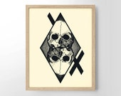 Occult Skeleton Illustration, Skulls, Human Anatomy, Occult Theme, College Dorm Room, Indie, Hipster, Tattoo Design, Giclee Art Print