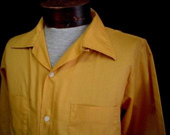 50s M Loop & Button Rockabilly Men's Big Collar Shirt Mustard Yellow