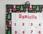 Personalized Christmas Advent Calendar in Santa Snowman Fabric/ Christmas Countdown Calendar with Pockets