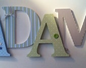 Nursery wooden  wall letters  Blue , green and brown themed letters