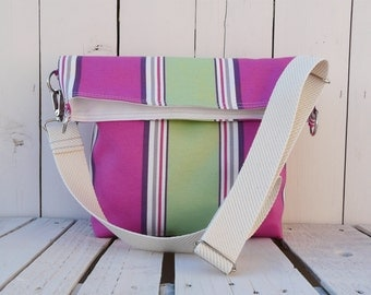 Tote Bag Canvas ~ Striped cross body messenger ~ nautical beach bag, unique gift for women, unique gift for sister, eco friendly bag
