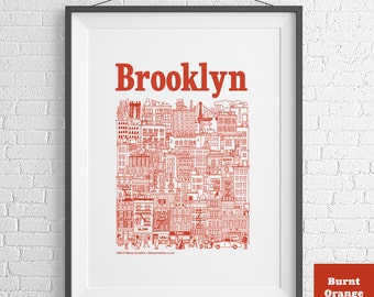 Brooklyn NYC Hand-Illustrated Screenprint (3 colours available)