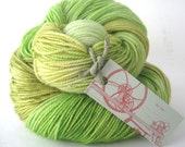 GRASSHOPPER Hand Dyed Yarn (Eco Friendly) Merino and Nylon Fingering/Sock Weight in Green, Yellow