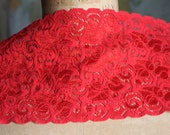 Red Floral Stretch Lace Trim -5 1/4 Inch Wide - Bridal garter, headband, lingerie, Lace Boot Socks