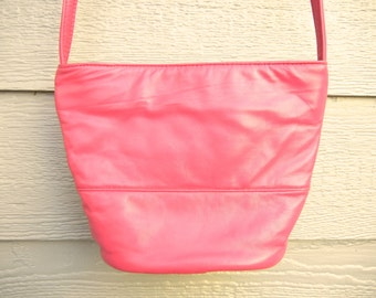 Vintage 80s 'Samir' Pretty in Pink Leather Zippered Mini Bucket Bag