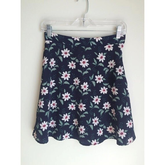 90s navy floral high waisted skirt