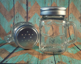 Custom Engraved Salt & Pepper Glass Mason Jar Mug Set - Engraving Included