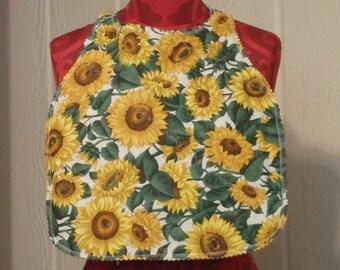 Adult Bib, Reversible Bib, Special Needs Bib, Sunflower Bib, Gifts for Seniors, Clothing Protector, Sunflowers Youth Bib - Choose Print
