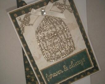 Handmade Wedding Card, Anniversary Card, Wedding Card, Wedding, Shower Card, Birds