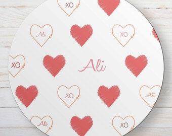 Personalized Melamine Valentine's Day Plate - Customized XO Hearts Dinnerware
