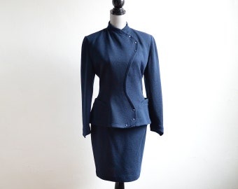 Vintage 80s Thierry Mugler Navy Skirt Suit