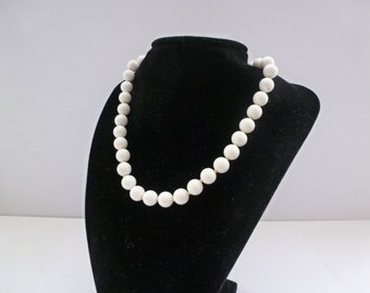 Vintage Marvella Beaded Necklace Signed Marvella White Beaded Necklace Vintage Jewelry