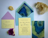 NEW! Gemstone Agate Geode Turquoise and Purple Wedding Invitation