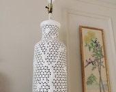 Blanc de chine pierced chinoiserie lamp large