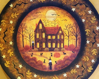 Halloween Decoration Wood Plate, Hand Painted Folk Art Sister Witches, Black Cats, Full Moon, Bats, Haunted Saltbox House,  MADE TO ORDER