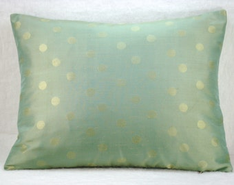 Silk Seamist Dot Decorative Silk Lumbar Pillow Accent Pillow 14x19 Cover Only