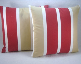 Stripe Red White and Tan Decorative Modern Pillow Cover Accent Pillow Toss Pillow 18x18 Pillow Cover