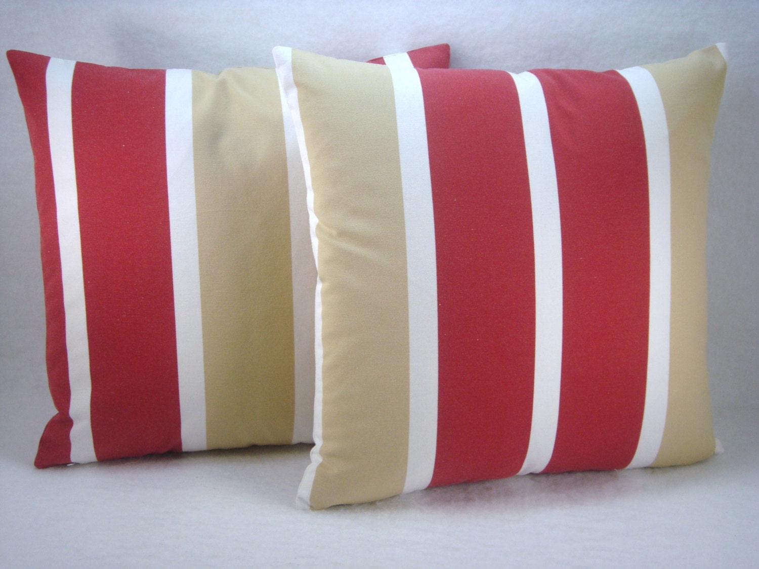 Red And Tan Decorative Pillows : Stripe Red White and Tan Decorative Modern Pillow Cover Accent
