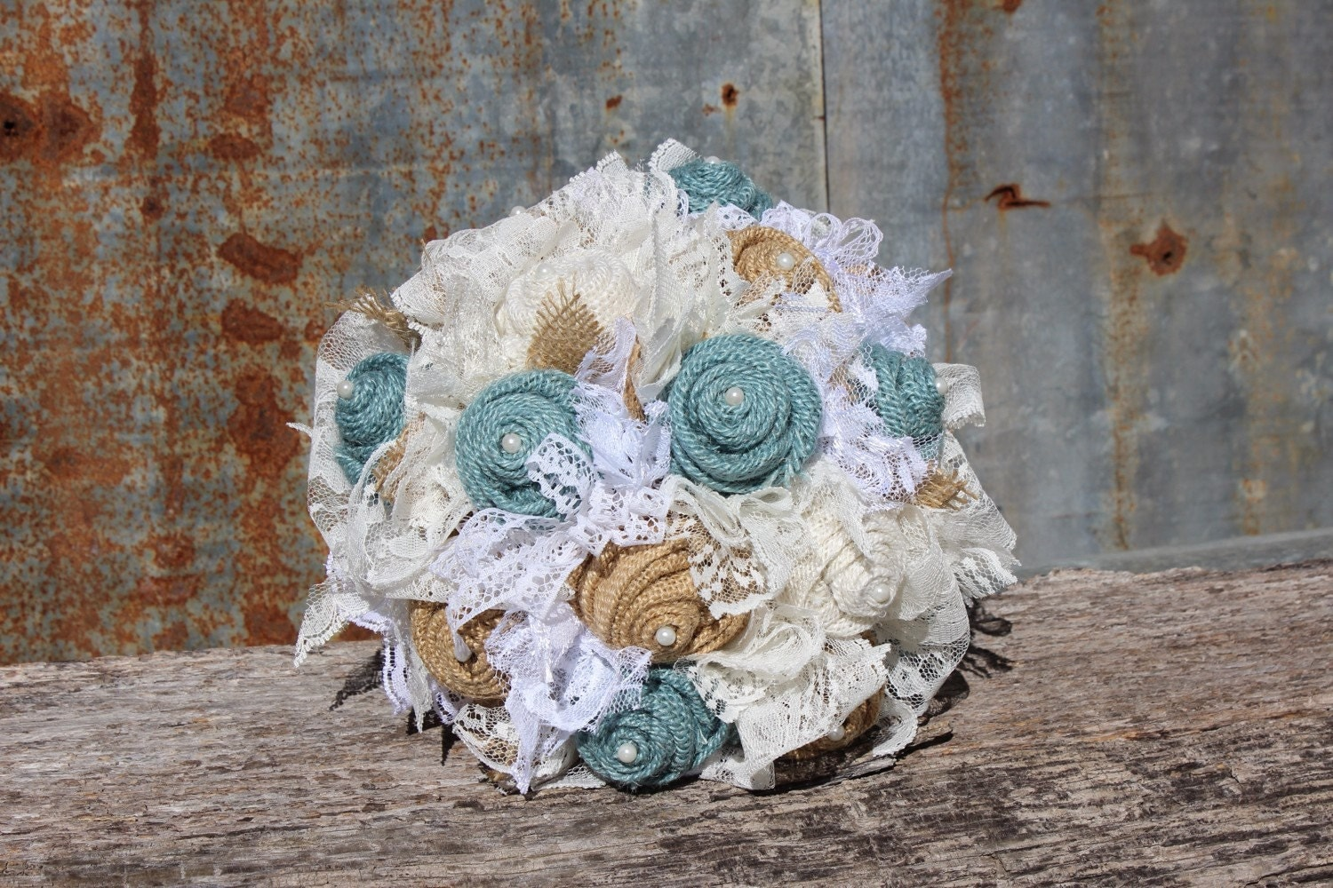 Burlap and Lace Bridal Bouquet in light blue