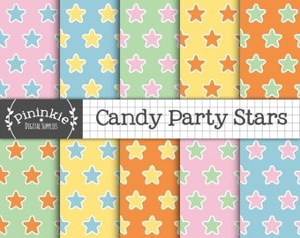 Pastel Star Digital Paper, Pastel Digital Scrapbook Paper, New Baby Pink, Blue, Green, Yellow and Orange, Commercial Use, Instant Download