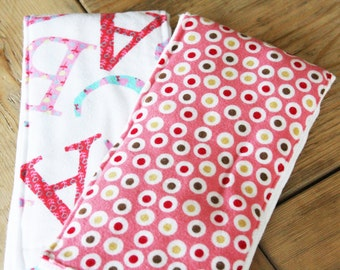Baby Burp Cloth - Set of 2 - Pink Dots and Alphabet - New Baby Shower Gift