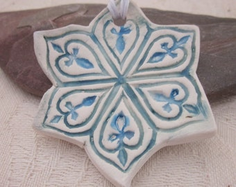 Large Teal Blue Green  Snowflake Ceramic Hanging Ornament
