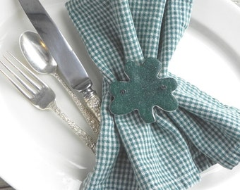 Set of 10 Shamrock Napkin Rings / St. Patrick's Day Salt Dough  Hanging Party Favor Ornaments
