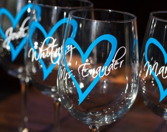 Wedding party wine glasses. Heart with name over. Future mrs glass, bridesmaid glass, Wine glass with name over heart