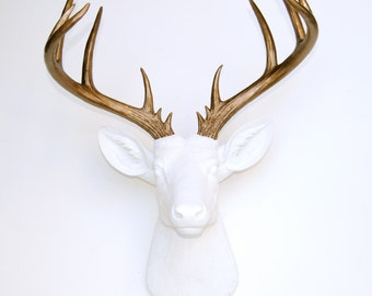 Large Deer Head - White and Bronze Deer Head Wall Mount - 14 Point Stag Head Antlers Faux Taxidermy ND0109