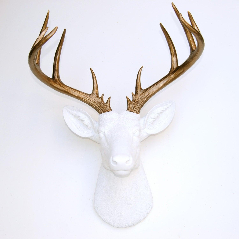 Large Deer Head White And Bronze Deer Head Wall Mount 14