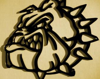 "Bulldog Silhouette, Metal Art, Wall Decor, Wall Decor, Bulldog,Approximate size 8 1/2"" W x 7"" H"
