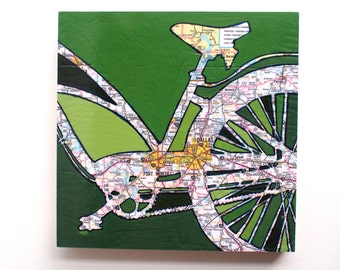 Dallas mounted print - featuring Dallas, Fort Worth, Arlington, Lancaster,  University Park, Texas  bicycle art mounted to wood